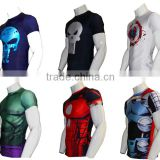 2016 DC Comic Superhero Superman /Captain America /Iron man /Spiderman Compression Shirt Fit Tight Gym Bodybuilding T Shirt