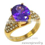 stainless steel costume jewelry rings with purple stone                                                                                                         Supplier's Choice