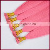 100 human remy double drawn 0.8g keratin hot pink i/stick tip brazilian hair extensions wholesale