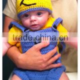 Crochet Minion Baby cap and Diaper Cover Outfit Newborn, Baby Minion Costume for 3/ 6/9 Months baby