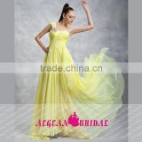 HT4 New Fashion One Shoulder Sweetheart Long Prom Dresses Floor Length Beaded Yellow Sleeveless Vestidos Para Formatura
