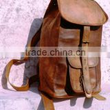 Real leather back pack bags/pure leather vintage ruck sack bags from india