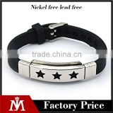 Fashion design biker bracelet Mens hot selling Five-pointed star silicone bangle bracelet jewelry