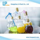 100ml/150ml/200ml/300ml/400ml/500ml Lamp bulb shape beverage plastic bottle with drinking straw and metal cap