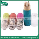 3.5 inch 6pcs natural rainbow colour pencil set with sharpener promotional mini color pencil