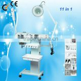 11 in 1 Multifunctional ultrasound &vacuum facial blackhead remover machine with magnifying lamp Au-8208A