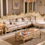 Luxury European style solid wood golden carving genuine leather back matching fabric seat living room corner sofa set