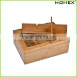 Tea Box - Bamboo Wooden Tea Bag and Condiments Storage Organizer Caddy with Clear Lid, 6 Compartments