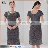 Short Sleeve Flower Pattern Designer One Piece Party Dress Women Crochet Dress With Lining SR-D9779