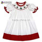 Children Latest Dress Designs White Cotton Corduroy Girls Christmas Smocked Bishop Dresses