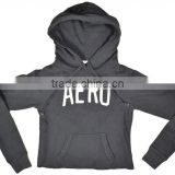 Fashion Cut Off Style Hoodie White/Black Cotton Polyester Crop Top Juniors Cropped Pullover Hoodie Custom Printed Hoodie OEM