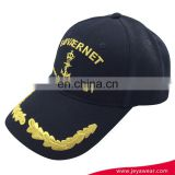 Fashion custom black 6 panel baseball cap with gold stitches embroidery and brass metal buckle