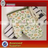 cotton material customzied logo printed oven mitt sets for kitchen