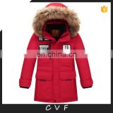 Long pattern winter fur fashion down coats jackets for children wholesale