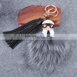 Popular raccoon fur bag charm with leather tassel fur accessory pendant