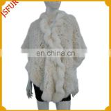 Fashion women's cape lace floral pattern white fur trim shawl for lady with real rabbit fur