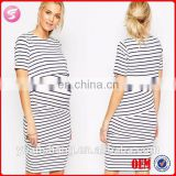 High Quality Maternity Nursing Double Layer Bodycon Dress In Stripe With Short Sleeve