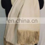 Silk Pashmina shawls with Sued leather fringes latset In India