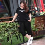 large size a full range of meat-reducting age-age-code sports suit women summer increase T-shirt.