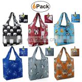 Grocery Reusable Foldable Shopping Bags Large 50LBS Groceries Bags with Pouch Waterproof Machine Washable Eco-Friendly Nylon