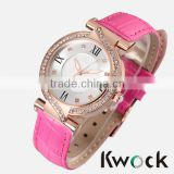 Christmas gift sale wholesale Leather Crystal fashion Wrist quartz Watch ladies Women dress watch