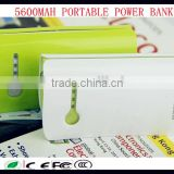 wholesale plastic power banks colourful useful four led light 5600mah portable power bank