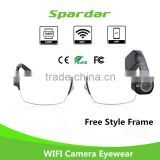 Rechargable Battery Full HD Video Recorder Camera Glasses WIFI with Mobile APP for Android/IOS