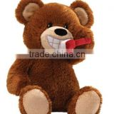 25cm Sitting High Plush Teddy Sound Toy/Stuffed Bear Brushes the Teeth/Musical Toy Stuffed Bear Operated by Battery