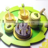 Wooden afternoon tea cake toys kitchen set for kids