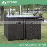 Cheap wholesale waterproof unique space saving 4 seater wicker cube cebu rattan outdoor patio garden furniture for sale