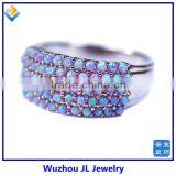 Bubble Gum Color Opal Beads Line Silver Elegance Ring