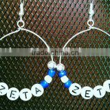 Zeta phi beta square beads hoop earring large round hook dangles for nice girl wholesale