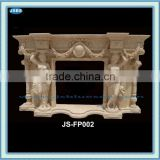 marble large interior fireplace surround with lady carving