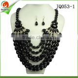 JQ053-1 wholesale beaded jewelry set fashion costume jewelry necklace and fashion earring