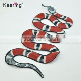 Keering red and black embroidery snake patch design for jacket or jeans WEF-110