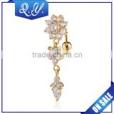 Women Jewelry Flower Shaped Solid Gold Navel Piercing Jewelry