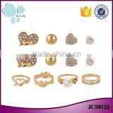 Cheapest price gold plated zinc alloy rhinestone 8 pieces ring earring jewelry set                                                                                                         Supplier's Choice
