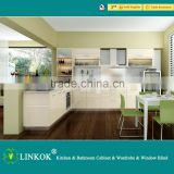 Linkok Furniture high gloss Timber veneer mixed lacquer round shape design high quality kitchen cabinet