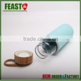 Custom Portable Real Borosilicate Glass Water Bottle with wooden lid