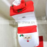 Adorable Felt Comfort Funny Style Santa Toilet Seat Cover and Rug Set Christmas Decorations