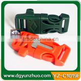 Hot sale plastic whistle buckle with firesteel, plastic whistle buckle for survival bracelet