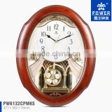 Wooden Case Large Decorative Big Pendulum Antique Wooden Wall Clock With 18 Music For Chiming And Sweep Quartz Clock Movement
