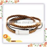 wholesale plain new high quality jewelry mens genuine leather bracelet stainless steel bangles made in China Jewelry
