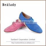 Can be customized safety sheep suede leather lace up flat ladies shoe casual