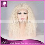 "Cosplay white color kinky curl heat resistant party dress synthetic hair wig 26"" lace front synthetic wigs"