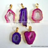 Agate Slice Vermeil Plated Fashion Jewelry Druzy Pendants