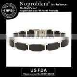 Noproblem P065 germanium tourmaline power beads black stainless steel bracelet
