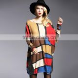 2016 Autumn Woman Plaid Sweater Plus Size Female Slash Neck Long Knitting Pullover Femme Chemise De Tricot