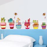 New Arrival Excellent Quality Colorful Pot Plants Flowers Vinyl Decal Bedroom Reward Stickers for Children