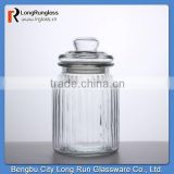 LongRun 10oz Charming Vintage-Style Special Shape Ribbed Glass Jar Glassware factory supply